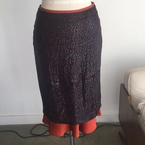 Celine black and rust silk skirt. Nwt size 34